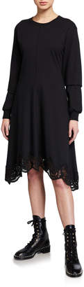 See by Chloe Long-Sleeve Asymmetrical Lace-Trim Tee Dress