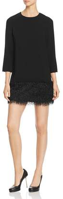 Paule Ka Faux-Feather Detail Mini Dress
