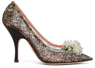 Rochas Floral Crystal Applique Lace Pumps - Womens - Black