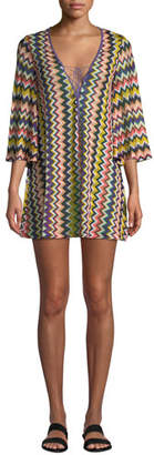 Missoni Mare Chevron Lace-Up Short Coverup Tunic