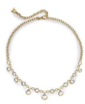 Temple St. Clair Royal Blue Moonstone, Diamond& 18K Yellow Gold Half Bib Necklace