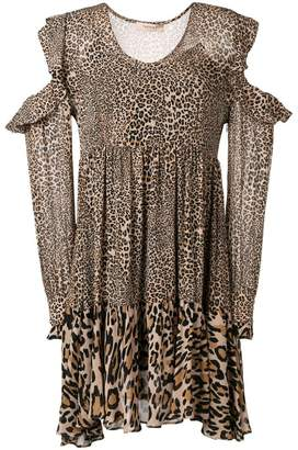 Twin-Set leopard print cut-off shoulder blouse