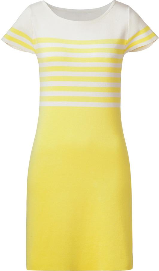 Tara Jarmon Yellow/White Striped Cotton Sweater Dress