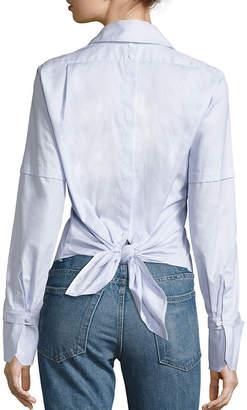 Helmut Lang Poplin Tie-Back Tuxedo Shirt