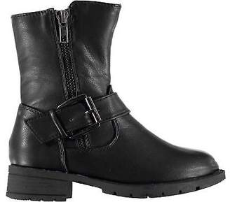 Miso Kids Girls Bella Biker Child Boots Rugged Buckle Fastening Zip Strap