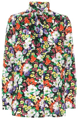 Gucci Floral-printed silk blouse