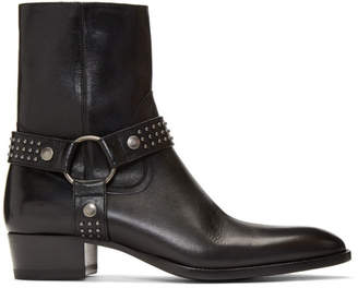 Saint Laurent Black Kangaroo-Look Wyatt Harness Stud Boots
