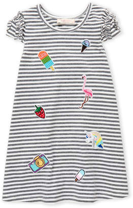 Baby Sara Girls 4-6x) A-Line Stripe Embroidered Dress