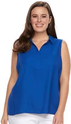 Dana Buchman Plus Size Pleat Back Sleevless Top