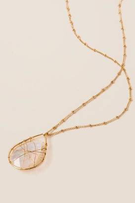 francesca's Alexa Wire Wrapped Pendant in Pearl - Clear