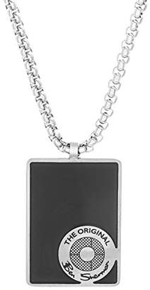 """Ben Sherman Men's 25"""" Black Rectangle with Circle Design Dog Tag Necklace with Stainless Steel Box Chain"""