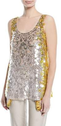 Valentino Sleeveless Scoop-Neck Sequined Paillette Top