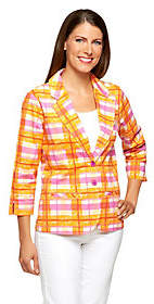 Liz Claiborne New York 3/4 Sleeve Plaid PrintBlazer