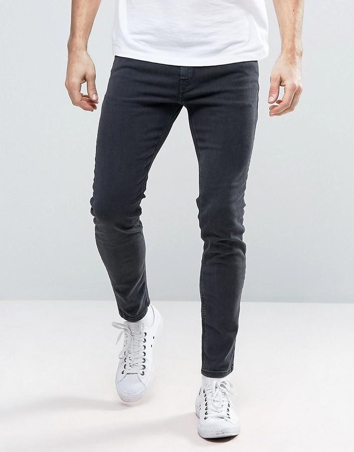 DieselDiesel Stickker Super Skinny Jeans 0677H Dark Gray Wash