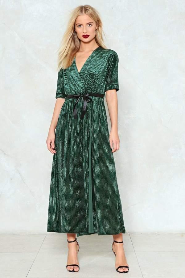 nastygal Eat Your Greens Velvet Wrap Dress