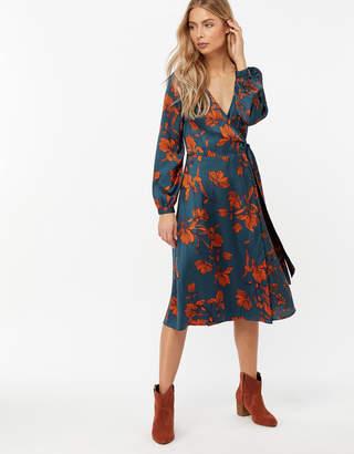 1107c5e87053 Monsoon Shayna Floral Print Wrap Midi Dress