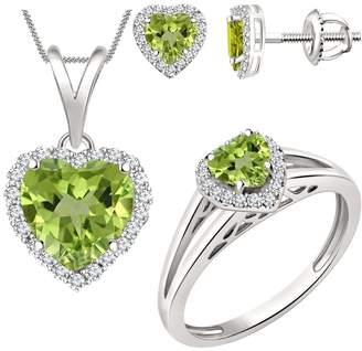 2heart Peridot & Sim Diamond Halo Heart Jewelry Sets In 14K White Gold Over