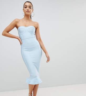 PrettyLittleThing exclusive bandage frill hem bodycon dress
