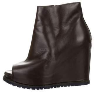 Brunello Cucinelli Leather Peep-Toe Ankle Boots Leather Peep-Toe Ankle Boots