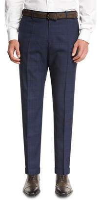 Zanella Plaid Super 120s Wool Trousers, Navy $425 thestylecure.com