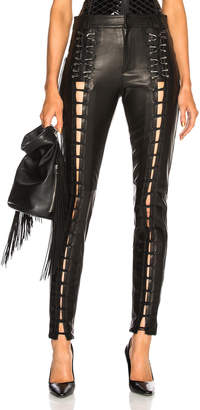 Thierry Mugler Leather Lace Up Leggings