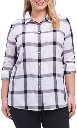 Foxcroft Zoey Herringbone Plaid Shirt (Plus Size)