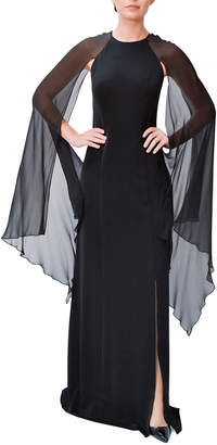 Mikael Aghal Crepe Slit Gown w/ Chiffon Sleeve Detail