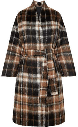Brunello Cucinelli Embellished Tartan Alpaca And Wool-blend Coat - Brown