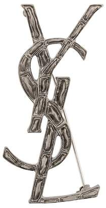 Saint Laurent embossed interlocked signature brooch
