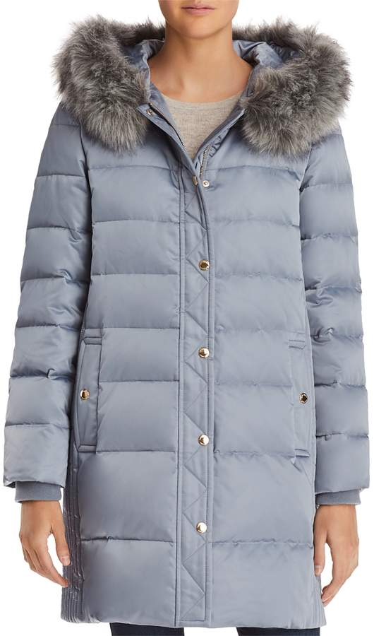 Faux Fur Trim A-Line Puffer Coat