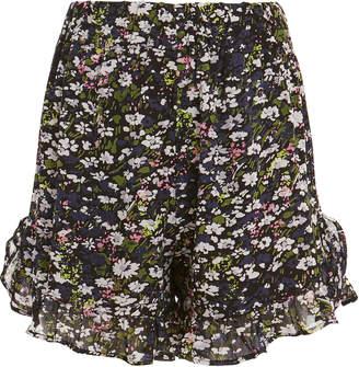 Ganni Georgette Floral Ruffle Shorts