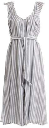 Apiece Apart Highland Striped Wide Leg Jumpsuit - Womens - Blue Stripe