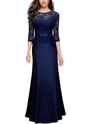 Anxihanee Women's Retro Floral Lace 2/3 Sleeve Slim Peplum Evening Wedding Party Long Maxi Dress (XL, )