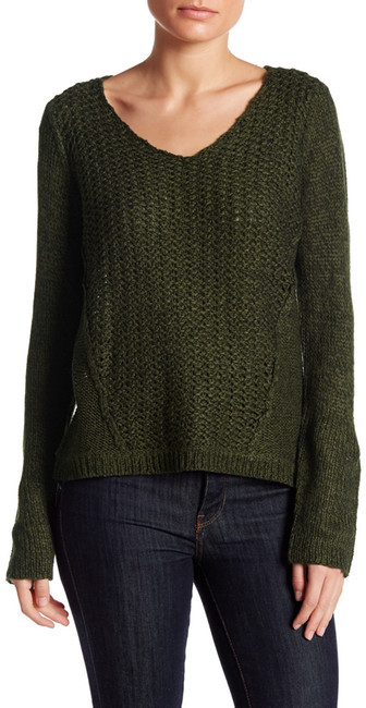 RESEARCH & DESIGN Scoop Neck Mixed Stitch Hi-Lo Sweater (Petite)