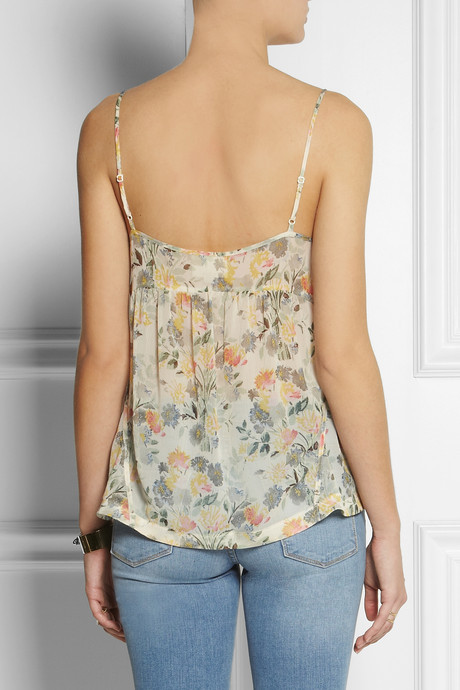 Band Of Outsiders Floral-print silk-chiffon camisole