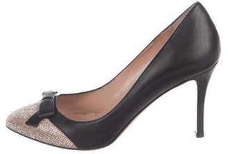 Valentino Leather Embellished Round-Toe Pumps