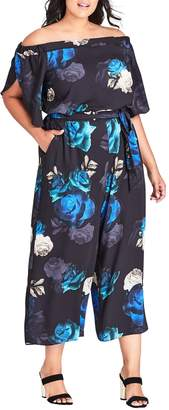 City Chic Electric Floral Print Crop Jumpsuit