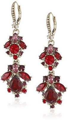 Marchesa Women's Gold Tone Red Multi Cluster Drop Earrings