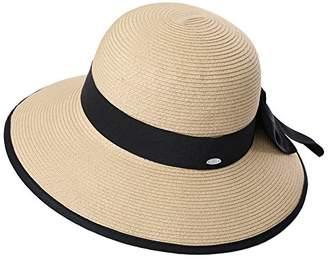 44b1f6cefc3 Cloche Jeff   Aimy Womens Summer Straw Beach Sun Hat UPF 50 Packable Wide  Brim with