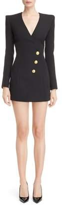 Balmain Long Sleeve Faux Wrap Minidress