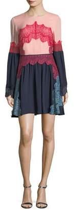 Tanya Taylor Cyra Lace Applique Silk Mini Dress
