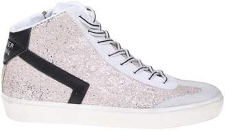 Leather Crown Sneakers Glitter Coated Leather Boot