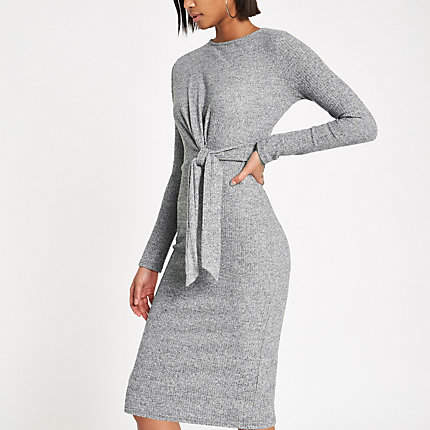 Womens Grey rib tie front midi dress