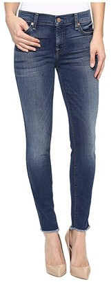 7 For All Mankind The Ankle Skinny w/ Raw Hem in Rich Coastal Blue