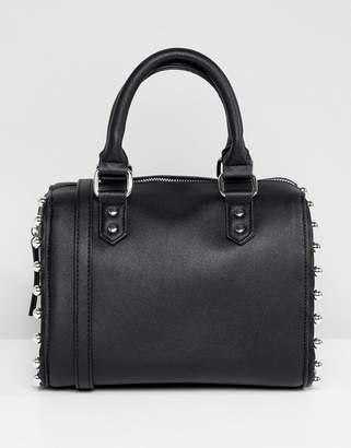 Faith Black Studded Bowler Bag With Cross Body Strap