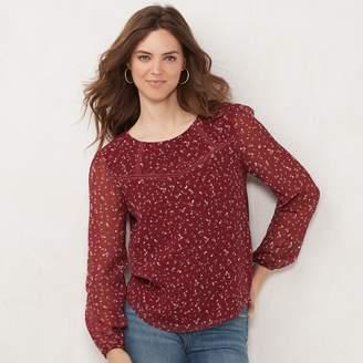 Lauren Conrad Women's Clip-Dot Knit-Back Peasant Top