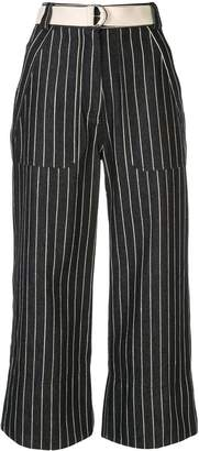 Lee Mathews cropped striped jeans