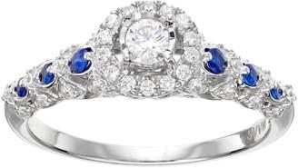 Vera Wang Simply Vera 14k White Gold 1/3 Carat T.W. Diamond & Sapphire Halo Engagement Ring