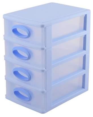 clear Unique Bargains Plastic Rectangular Shaped 4 Layers Sundries Store Storage Box Light Blue