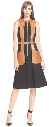 Tracy Reese 'Felicity' Faux Leather Trim Dress $348 thestylecure.com